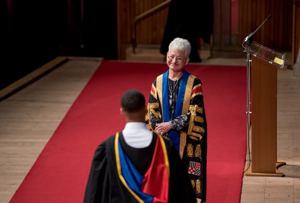 Literary, though not literal, royalty, Jacqueline Wilson, smiling at a graduate