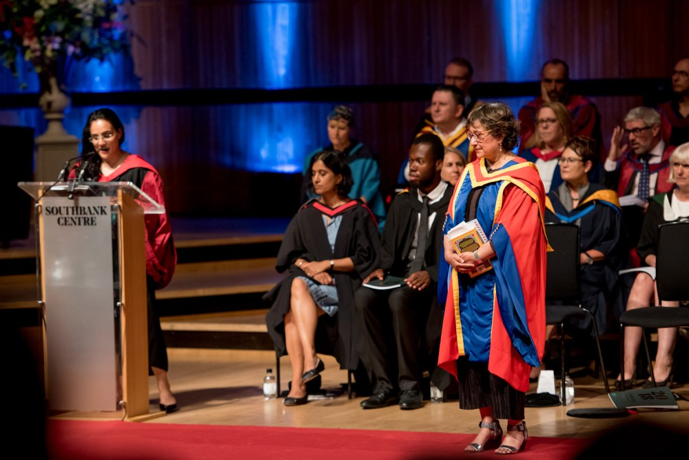 Yasmin Alibhai-Brown, receiving her honorary doctorate