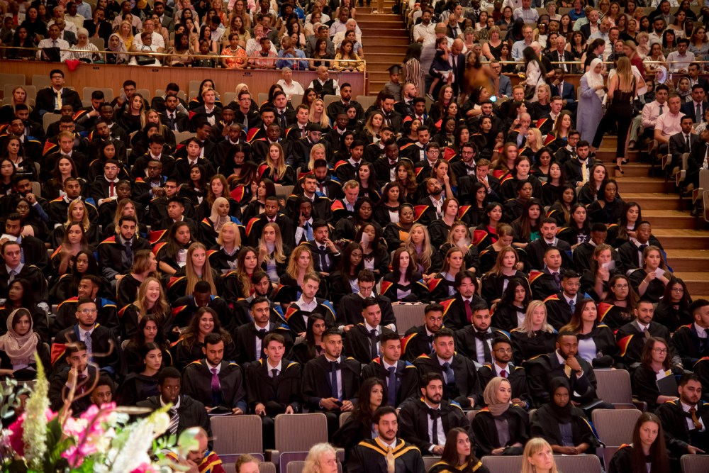 Students in the Royal Festival Hall await their turn