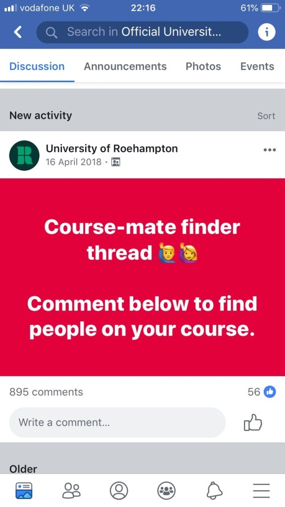 Screenshot of the Roehampton Freshers' FB group