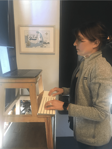 Standing desk with Ikea stool.