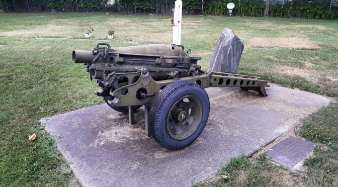 M1A1 75mm Pack Howitzer on an M8 Carriage in the Battle Creek Memorial Cemetary