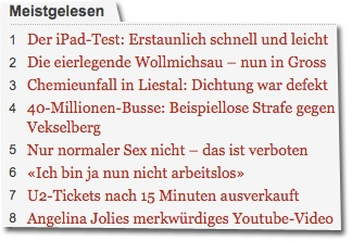 Screenshot bazonline.ch vom 28. Januar 2010