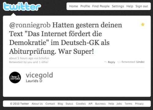"""Tweet zu """"Das Internet fördert die Demokratie"""""""