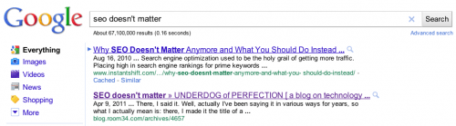 "Google search for ""SEO doesn't matter"""