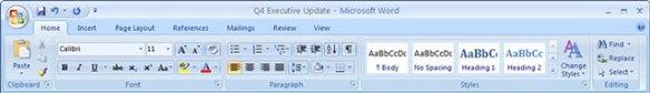 Microsoft Word 2007 ribbon