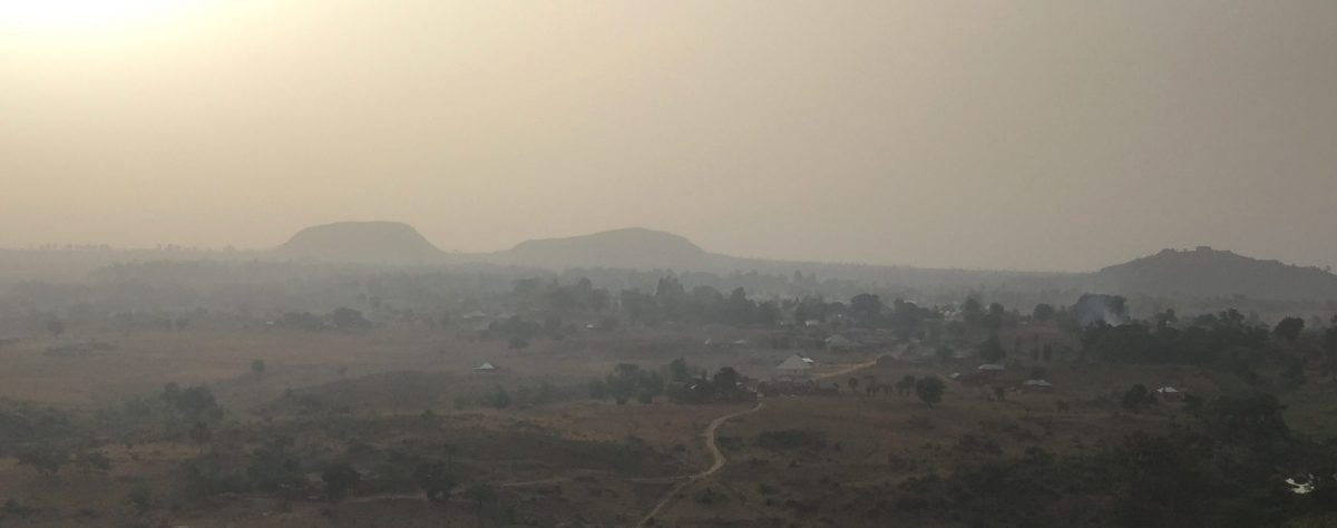 Photo of dawn breaking over hills in central northern Nigeria