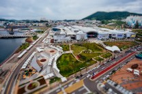 Tilt-shift view of the Yeosu Expo complex from the Sky Tower. Fuji X-E1, Samyang 12mm