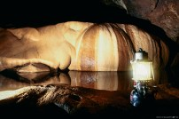 Rock formations and lantern, Sumaguing Cave, Sagada