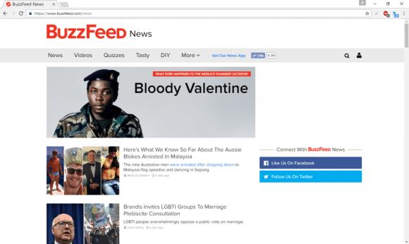 Screenshot of Buzzfeed News in Australia. Picture: Buzzfeed.com/news