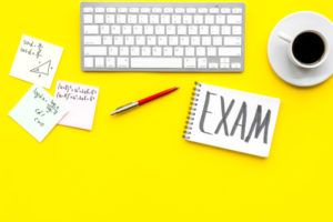 Exam prep cards and computer