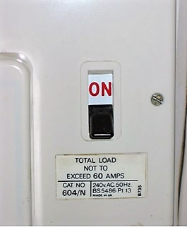 Switch flicked on within the fuse box