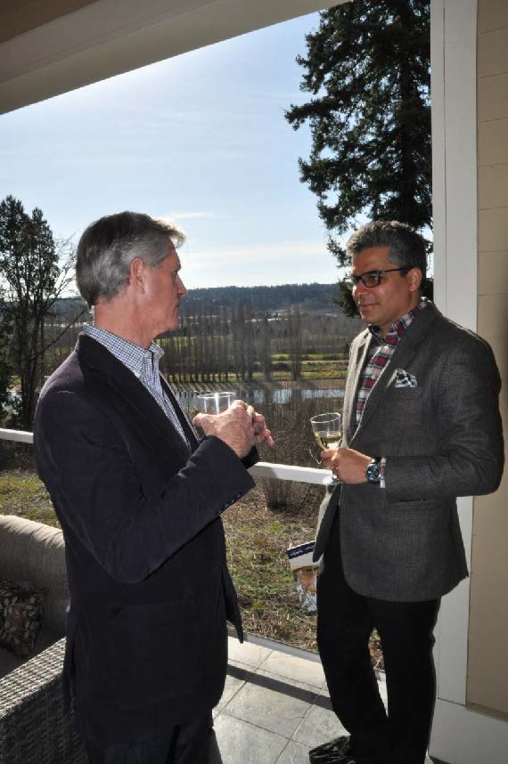 PICTURED ABOVE AND BELOW: Ashwin Chadha enjoys the view with RSIR broker Bill Cahill and broker Karishma Kiri during the broker's open at Vista View Estates.