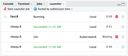 IDE tab showing status of launcher jobs