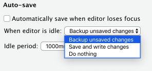 Section of Options dialog showing auto-save preferences