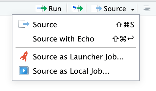 Menu options allow you to run jobs in the background or using Launcher.