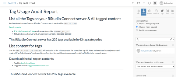Example Tag Usage Audit Report