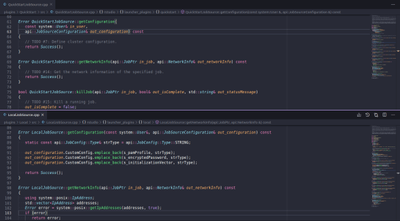 A comparison of the same method in the QuickStart and Local Plugins