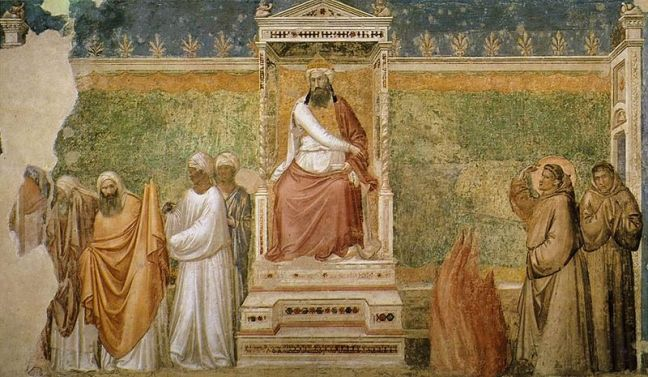 800px-Giotto_di_Bondone_-_Scenes_from_the_Life_of_Saint_Francis_-_6._St_Francis_before_the_Sultan_Trial_by_Fire_-_WGA09313