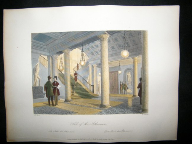 uk-1844-antique-hand-col-print.-hall-of-the-athenaeum-club-london-42159-p