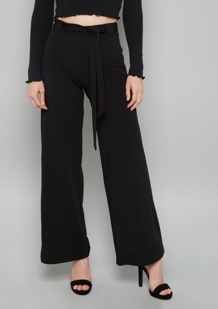 Black Belted Crepe Palazzo Pants Internship Outfit Ideas
