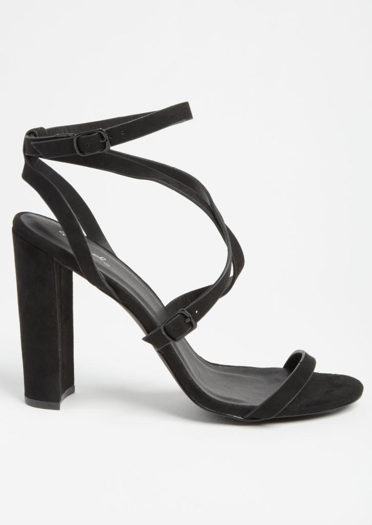Black Ankle Wrap Buckled Heels