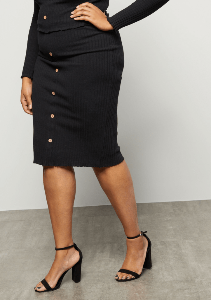 Plus Black Ribbed Knit Button Down Midi Skirt Internship Outfit Ideas