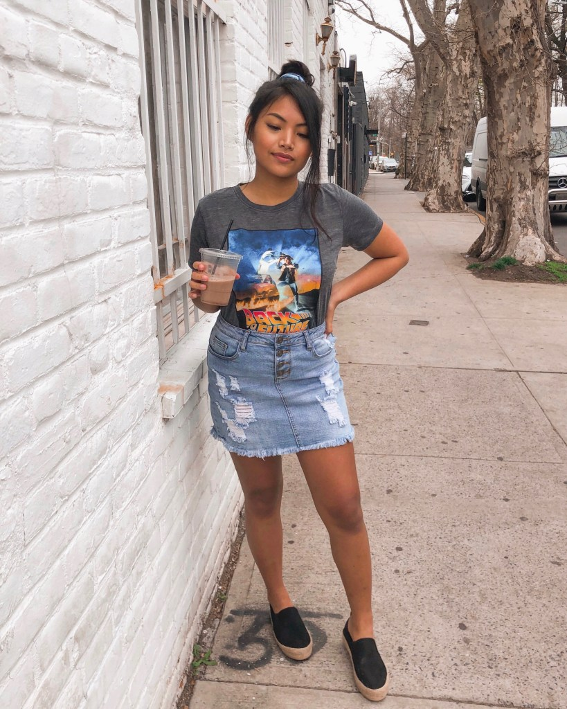 Gray Back To The Future Graphic Tee Light Wash Frayed Destroyed Button Down Jean Skirt Black Faux Suede Espadrille Slip On Sneakers