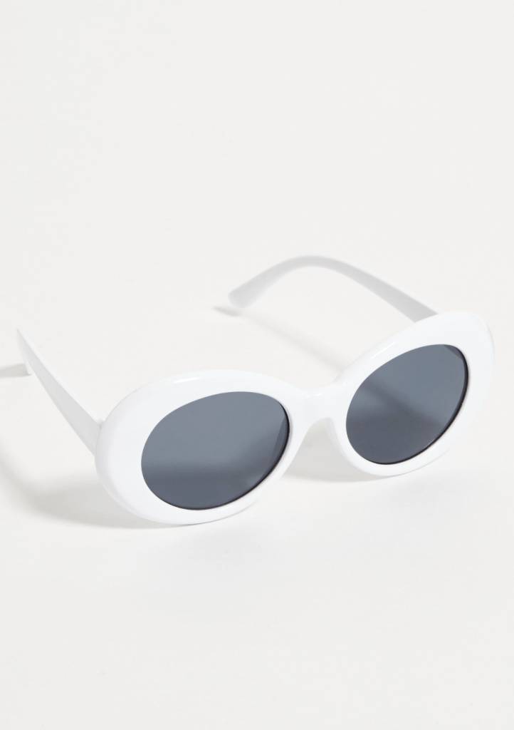White Retro Round Sunglasses Throwback Outfits