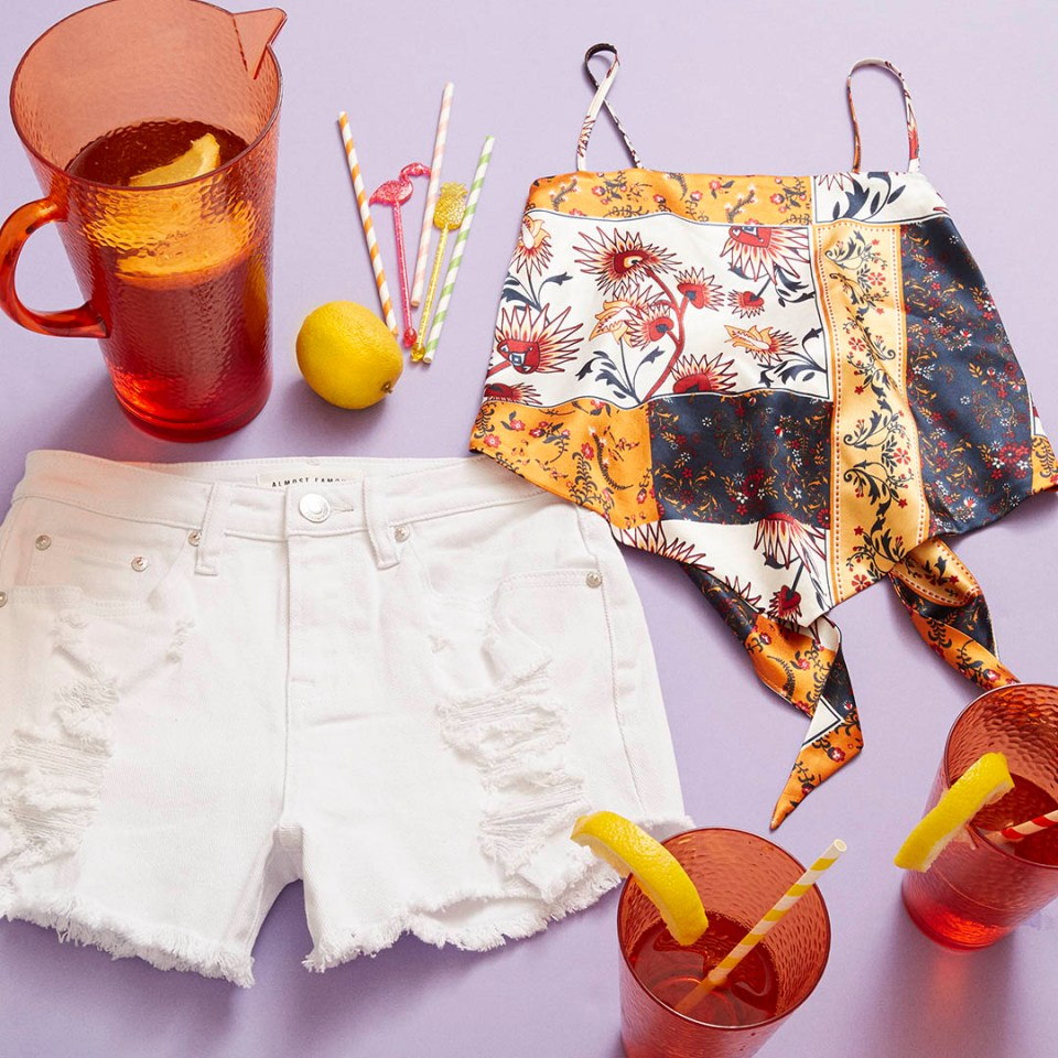 summer outfit and iced tea recipe