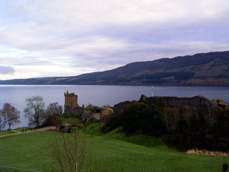 Urkhart Castle with Loch Ness behind it.