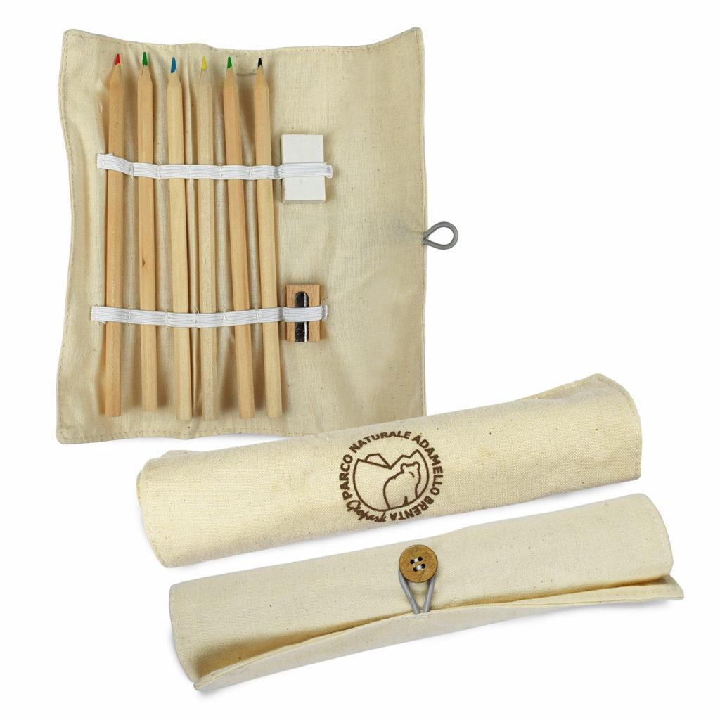 Set matite con astuccio ecofriendly personalizzato per il Parco Naturale Adamello Brenta