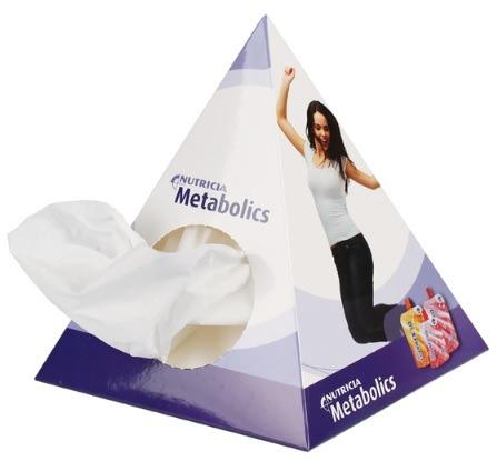 Box a forma di piramide contenente fazzoletti