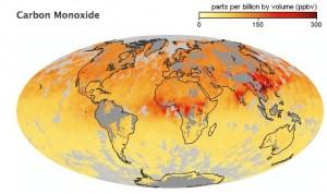 Global Map of Carbon Monoxide concentration.
