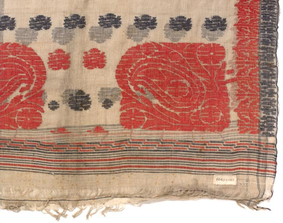 Sari (jamdani) Bangladesh About 1880 Muslin Width 86 cm x Length 335 cm IS.664-1883, Victoria & Albert Museum, London