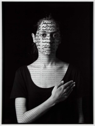 Roja Shirin Neshat, Roja, 2012. Photograph, gelatin silver print with India ink. Charles Bain Hoyt Fund and Francis Welch Fund. Copyright Shirin Neshat.