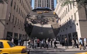"""Sky Mirror"" by Anish Kapoor at Rockefeller Center."