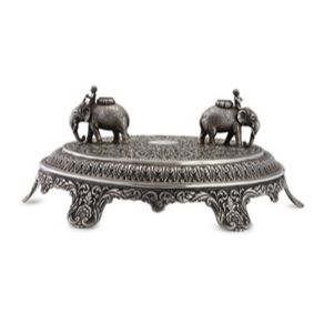 """Here's your proof,"" says the Raised Silver Centrepiece, Oomersi Mawji & Co., Bhuj (Lot 101) Image Credit: http://www.saffronart.com/customauctions/PreWork.aspx?l=9235"