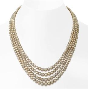 Lot 46, A Majestic four-line natural pearl necklace. Image Credit: http://www.saffronart.com/customauctions/PreWork.aspx?l=9180)