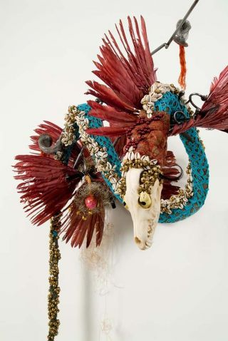 With or without name she was blue and who knew when she would slip into another mood for her understandable unwillingness to do, to speak to, to feel and determine her next move rests in her nest as would a Refugee 2009, Rina Banerjee. Image Credit: https://www.qagoma.qld.gov.au/exhibitions/past/2012/apt7_asia_pacific_triennial_of_contemporary_art/artists/rina_banerjee