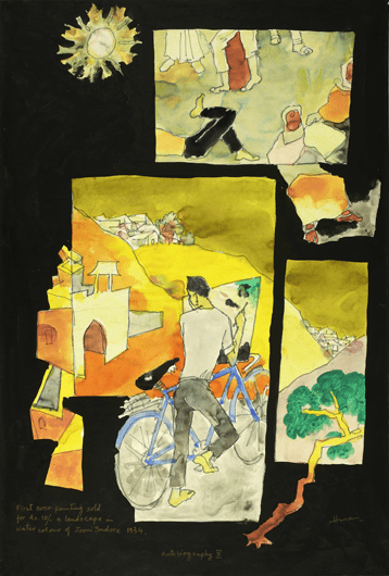 M F Husain, Autobiography X, 1989, Watercolour on paper laid on board