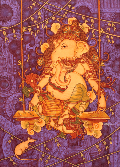 Lord Ganesha is rendered in curvilinear, fluid lines and is seen here with his vahana—the mouse. Available on StoryLTD Source: https://www.storyltd.com/ItemV2.aspx?iid=39927