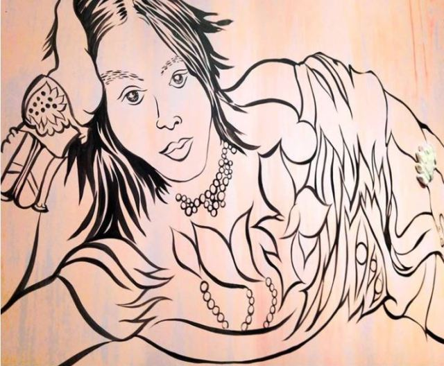 "Chitra Ganesh's ""Reclining Figure"", rendered on the walls of Lakeeren Gallery Source: Lakeeren Art Gallery"