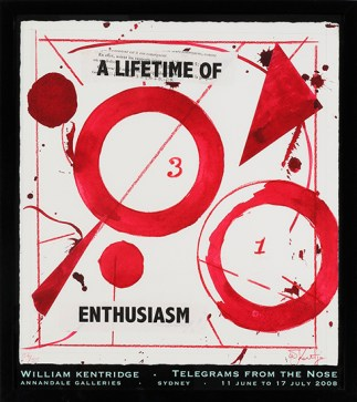 WILLIAM KENTRIDGE - A LIFETIME OF ENTHUSIASM, Annandale Galleries Poster for Telegrams From The Nose, 11 June to 17 July, 2008.