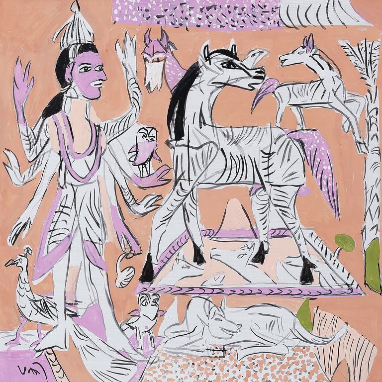 Spirits, gouache on board, was exhibited in Subramanyan's most recent show in 2015 – 16. From Saffronart's Summer Online Auction, 10 – 12 June 2015