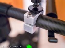Der selbstgebaute Halter mit Fotogewinde aus Alu