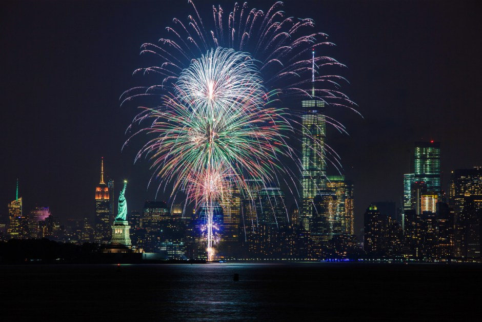 fireworks in nyc view from a boat
