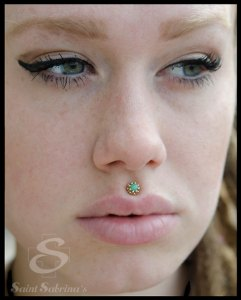 philtrum piercing with jewelry from BVLA