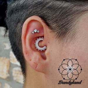 daith piercing with white gold jewerly