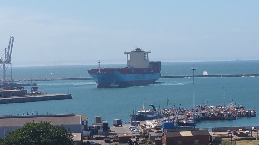 A commercial cargo vessel entering the port of Port Elizabeth in May 2016.